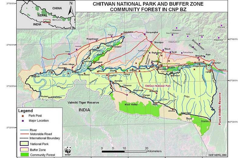 park de la reserve Chitwan dans le Teraî